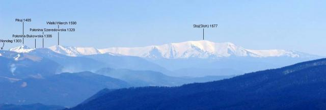 Borżawa z Połoniny Wetlinskiej - odl do Stoha 77 km